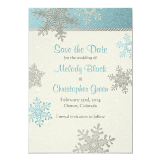 Silver Blue Snowflake Winter Wedding Save the Date Card
