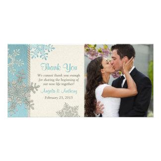 Silver Blue Snowflake Winter Wedding Thank You Card