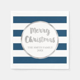 Silver Blue Stripes Merry Christmas Napkin Paper Napkin