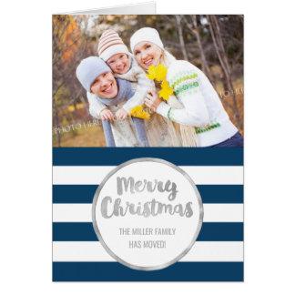 Silver Blue Stripes Merry Christmas New Address Card
