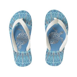 Silver Blue Turtle Animal Mandala Kid's Flip Flops