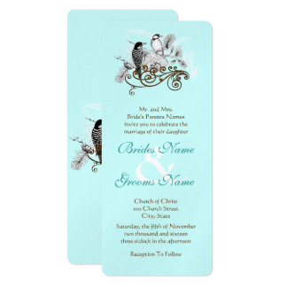 Silver Blue Vintage Love Birds Wedding Invitation