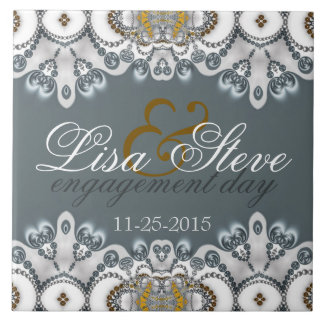 Silver Blue + White Lacy Engagement Keepsake Gift Tile
