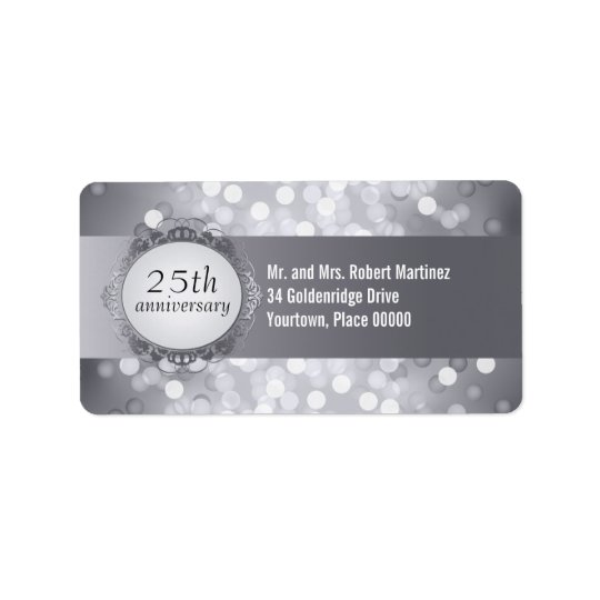 Silver Bokeh 25th Anniversary Address Label
