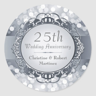 Silver Bokeh 25th Anniversary Sticker