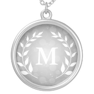 Silver Bokeh and Laurel Monogram Necklace