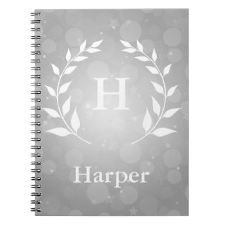 Silver Bokeh and Laurel Monogram Spiral Notebook