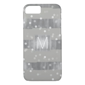 Silver Bokeh Glam Stripes Monogram iPhone 8/7 Case
