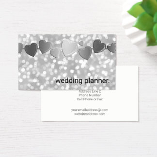 Silver Bokeh Glamour Hearts | Wedding Planner Business Card