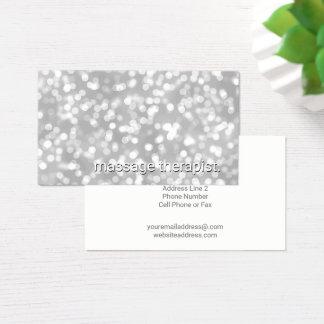Silver Bokeh Glamour | Massage Therapist Spa Business Card