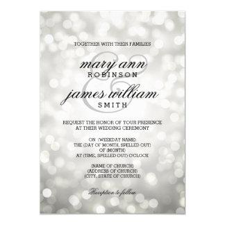 "Silver Bokeh Lights Elegant Wedding 5"" X 7"" Invitation Card"