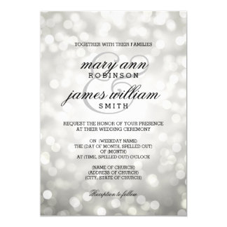 "Silver Bokeh Lights Elegant Wedding 5"" X 7"" Invitation Card"
