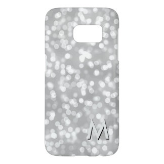 Silver Bokeh Lights Sparkles | Monogrammed Initial Samsung Galaxy S7 Case