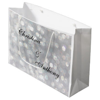 Silver Bokeh Lights Wedding Favor Bag