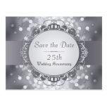 Silver Bokeh Save the Date 25th Anniversary Post Card