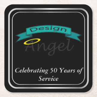 Silver Bordered Square Logo Branded Paper Coasters