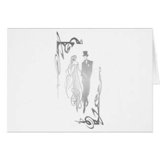 Silver Bride and Groom Art Card