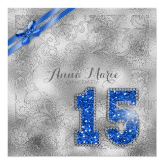 Silver Brocade Fifteenth Birthday Blue ID382 Perfect Poster