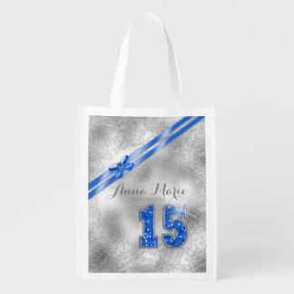 Silver Brocade Fifteenth Birthday Blue ID382 Reusable Grocery Bag