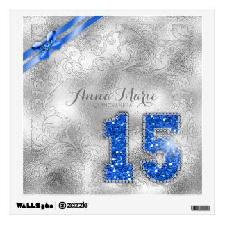 Silver Brocade Fifteenth Birthday Blue ID382 Wall Sticker