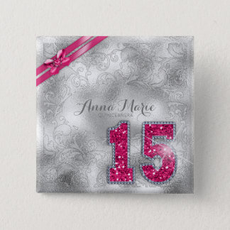 Silver Brocade Fifteenth Birthday Hot Pink ID382 2 Inch Square Button