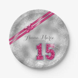 Silver Brocade Fifteenth Birthday Hot Pink ID382 Paper Plate