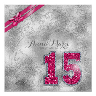 Silver Brocade Fifteenth Birthday Hot Pink ID382 Perfect Poster