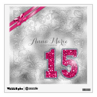 Silver Brocade Fifteenth Birthday Hot Pink ID382 Wall Sticker