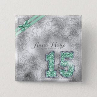 Silver Brocade Fifteenth Birthday Mint Green ID382 2 Inch Square Button