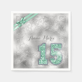Silver Brocade Fifteenth Birthday Mint ID382 Napkin