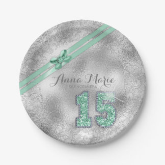 Silver Brocade Fifteenth Birthday Mint ID382 Paper Plate