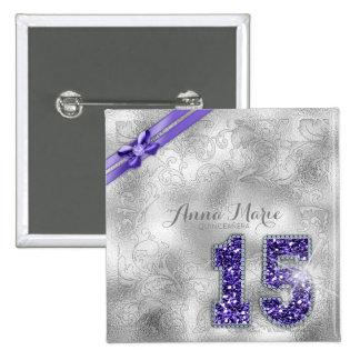 Silver Brocade Fifteenth Birthday Purple ID382 2 Inch Square Button