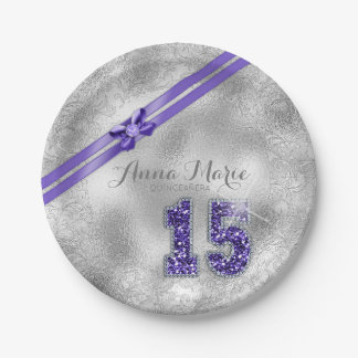 Silver Brocade Fifteenth Birthday Purple ID382 Paper Plate