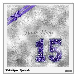 Silver Brocade Fifteenth Birthday Purple ID382 Wall Decal
