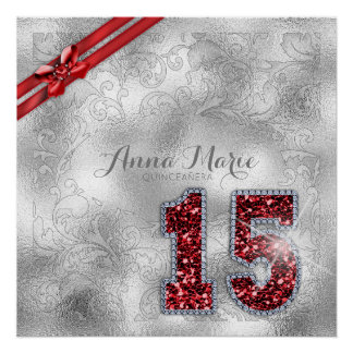 Silver Brocade Fifteenth Birthday Red ID382 Perfect Poster