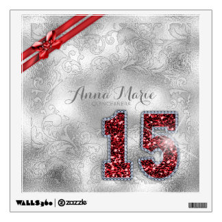 Silver Brocade Fifteenth Birthday Red ID382 Wall Sticker
