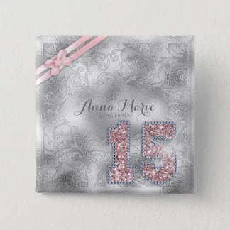 Silver Brocade Fifteenth Birthday Rose Gold ID382 2 Inch Square Button
