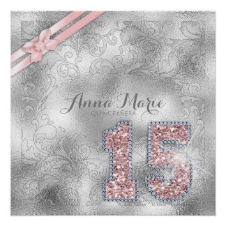 Silver Brocade Fifteenth Birthday Rose Gold ID382 Perfect Poster