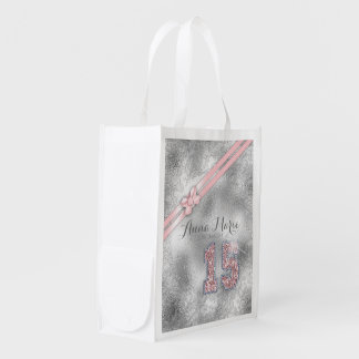 Silver Brocade Fifteenth Birthday Rose Gold ID382 Reusable Grocery Bag