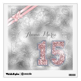 Silver Brocade Fifteenth Birthday Rose Gold ID382 Wall Sticker