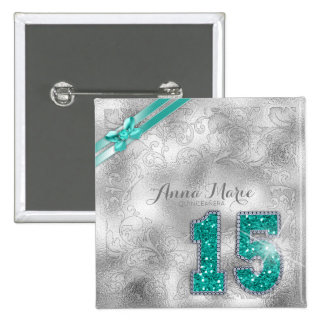 Silver Brocade Fifteenth Birthday Teal ID382 2 Inch Square Button