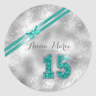 Silver Brocade Fifteenth Birthday Teal ID382 Classic Round Sticker
