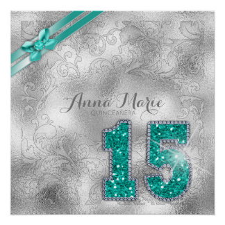 Silver Brocade Fifteenth Birthday Teal ID382 Perfect Poster