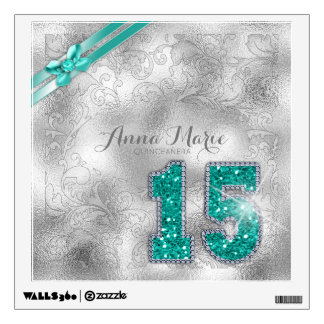 Silver Brocade Fifteenth Birthday Teal ID382 Wall Sticker