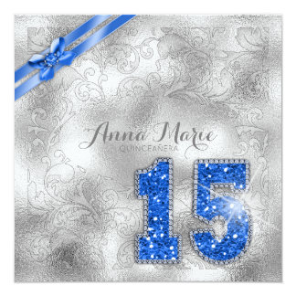 Silver Brocade Quinceanera Birthday Blue ID382 Card