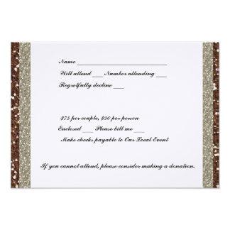 Silver Brown Glitter RSVP Custom Invites