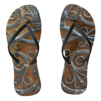 Silver brown wood funky looking door flip flops