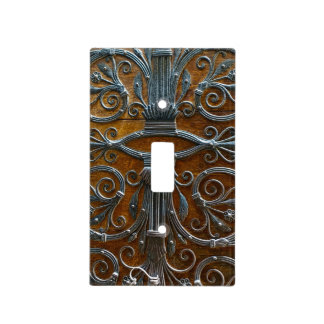 Silver brown wood funky looking door light switch cover