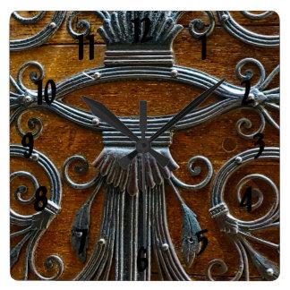 Silver brown wood funky looking door square wall clock