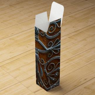 Silver brown wood funky looking door wine gift box